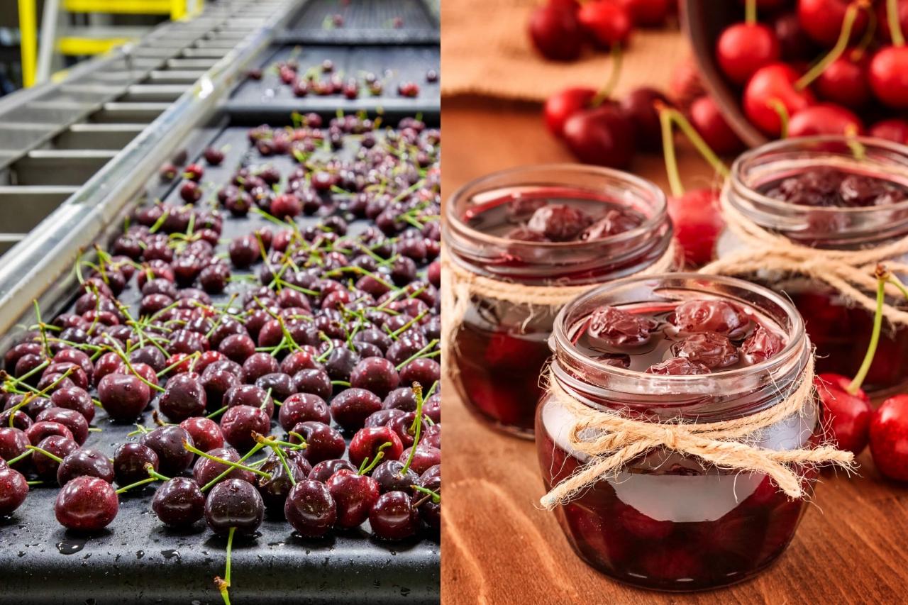 Cerejas em uma fábrica ao lado de cerejas em compotas